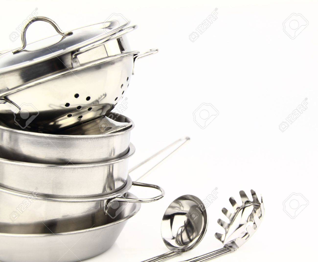 Restaurant Kitchenware group of stainless steel kitchenware stock photo, picture and