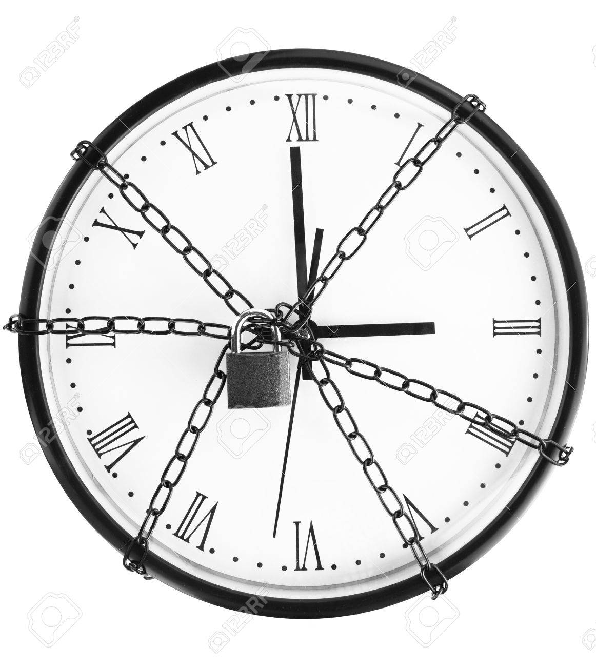 Clock bound with chain and padlock Stock Photo - 11014304