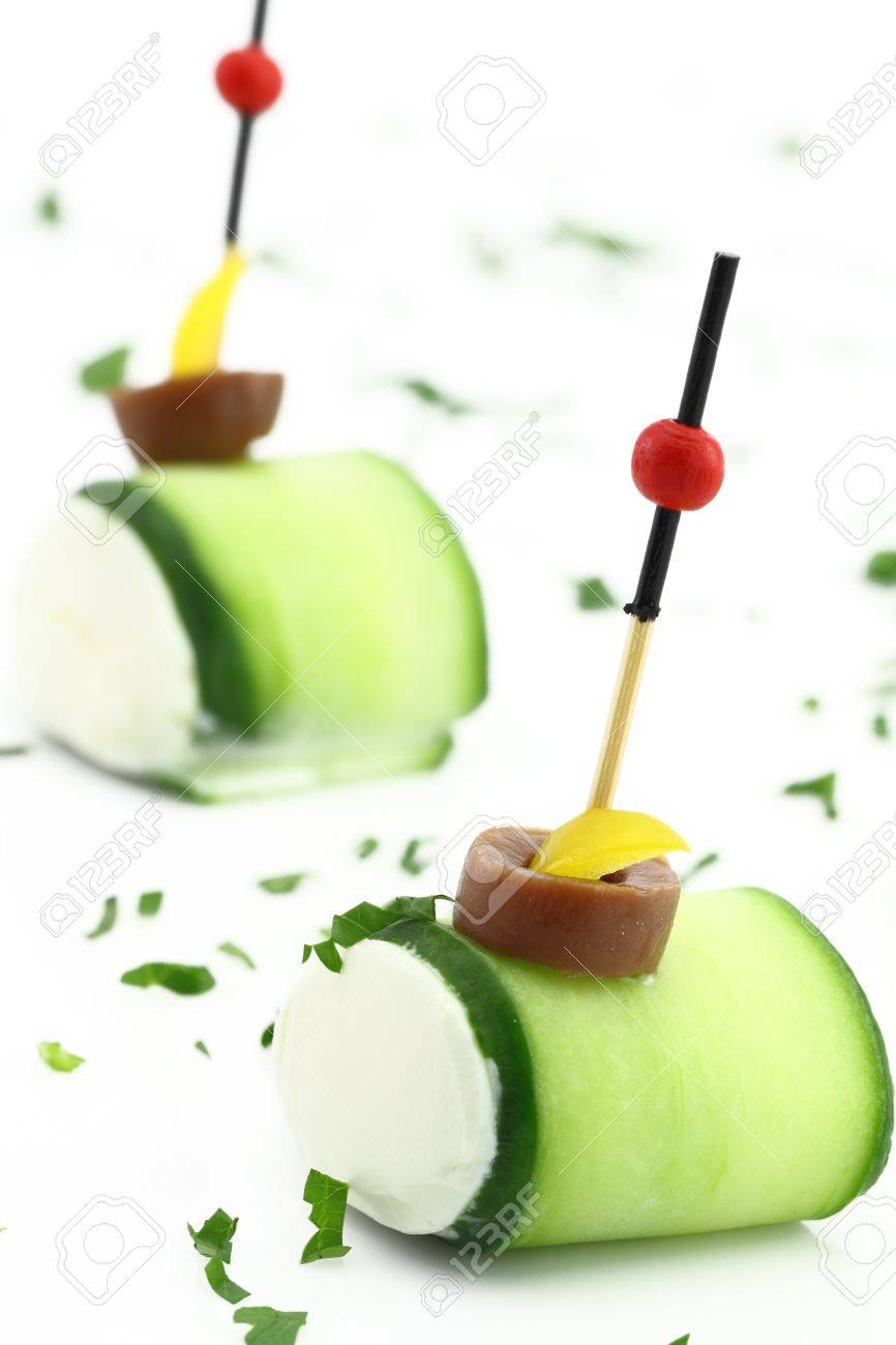 Finger food with Cucumber and cheese cream Stock Photo - 13326520