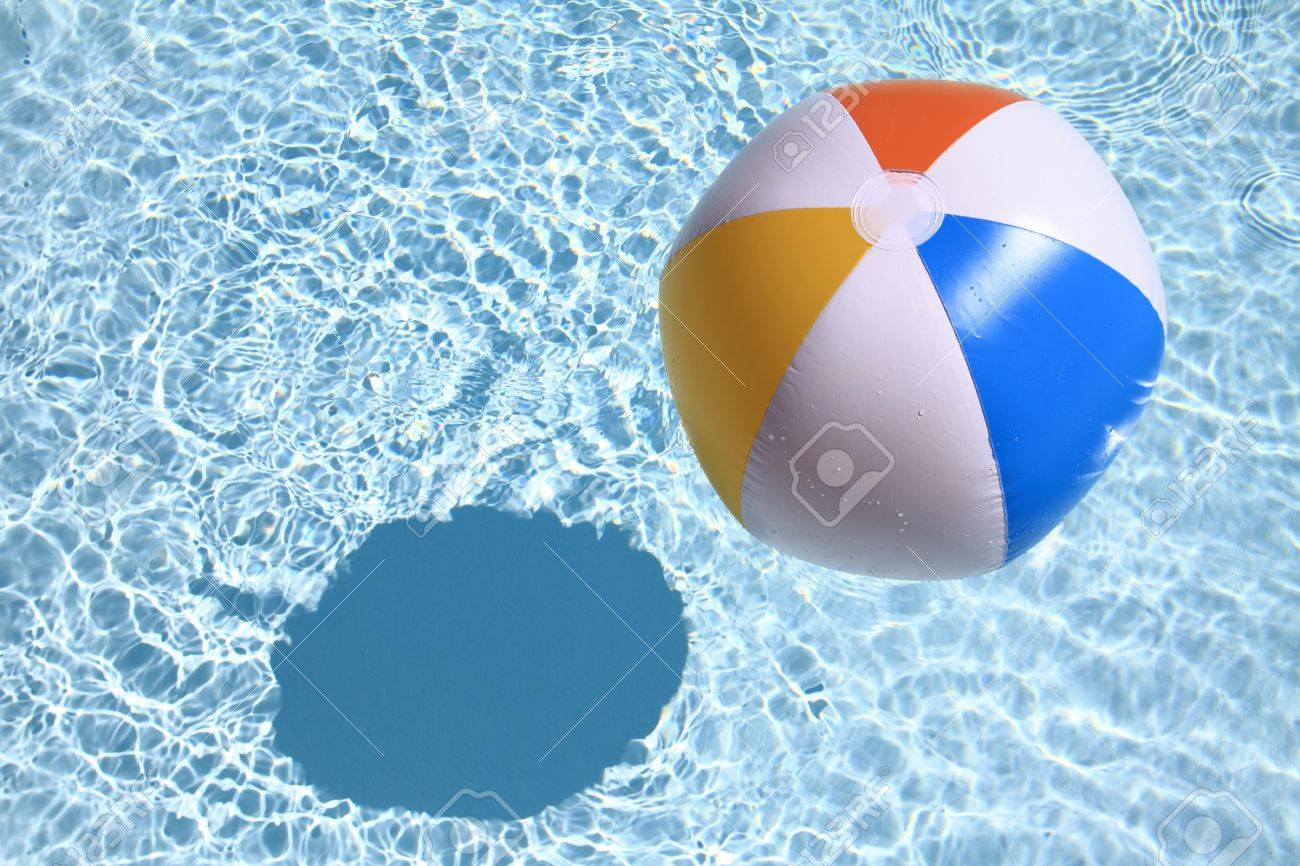 swimming pool beach ball background. Summer Background. Beach Ball On The Swimming Pool Stock Photo - 14039929 Background A