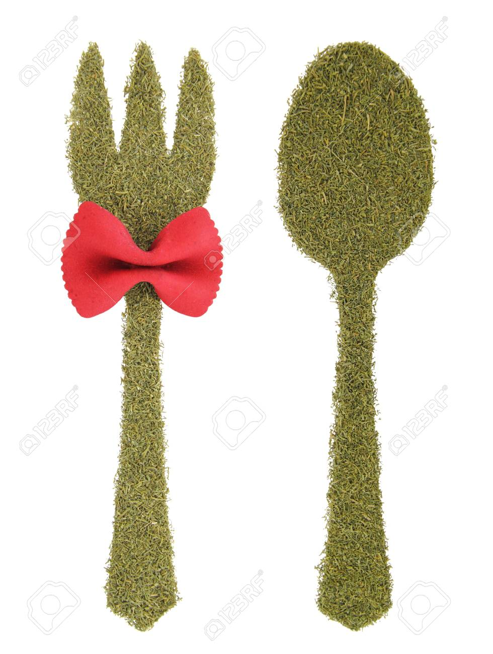 Spoon and fork made of dill Stock Photo - 15210129