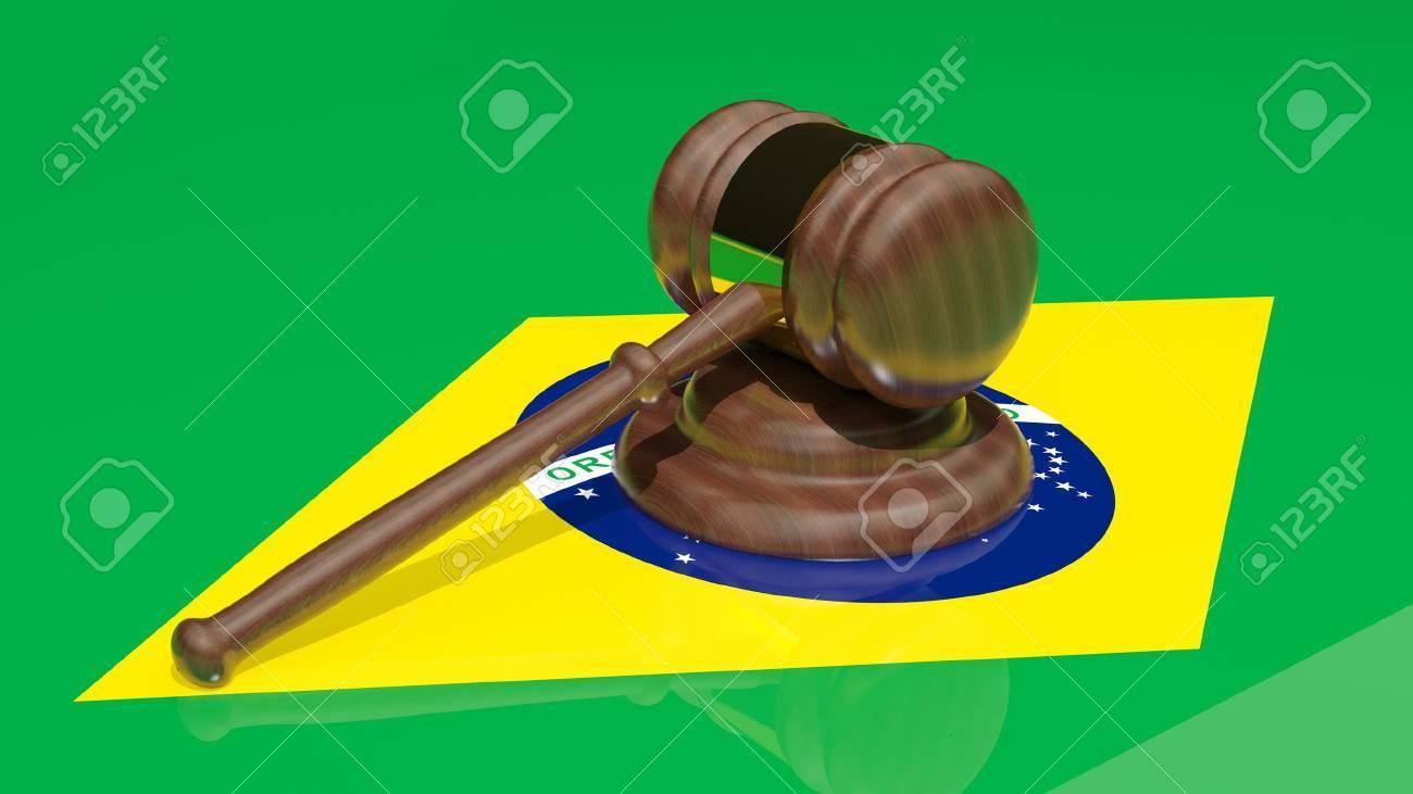 Gavel on the flag of Brazil Stock Photo - 15545013