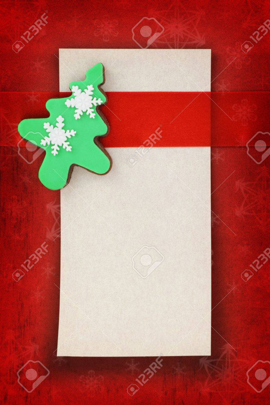 Christmas card with tree cookie on fabric background Stock Photo - 17364316
