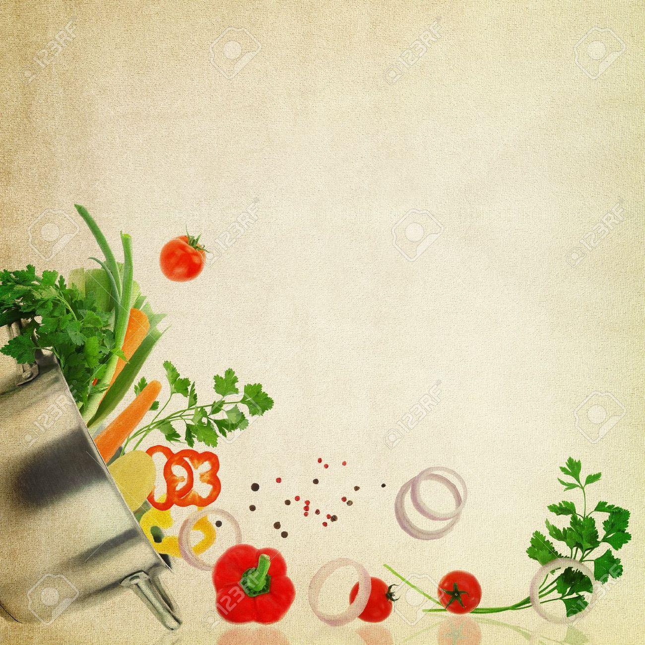 Rezept-Vorlage. Frisches Gemüse Auf Gewebebeschaffenheit Lizenzfreie ...