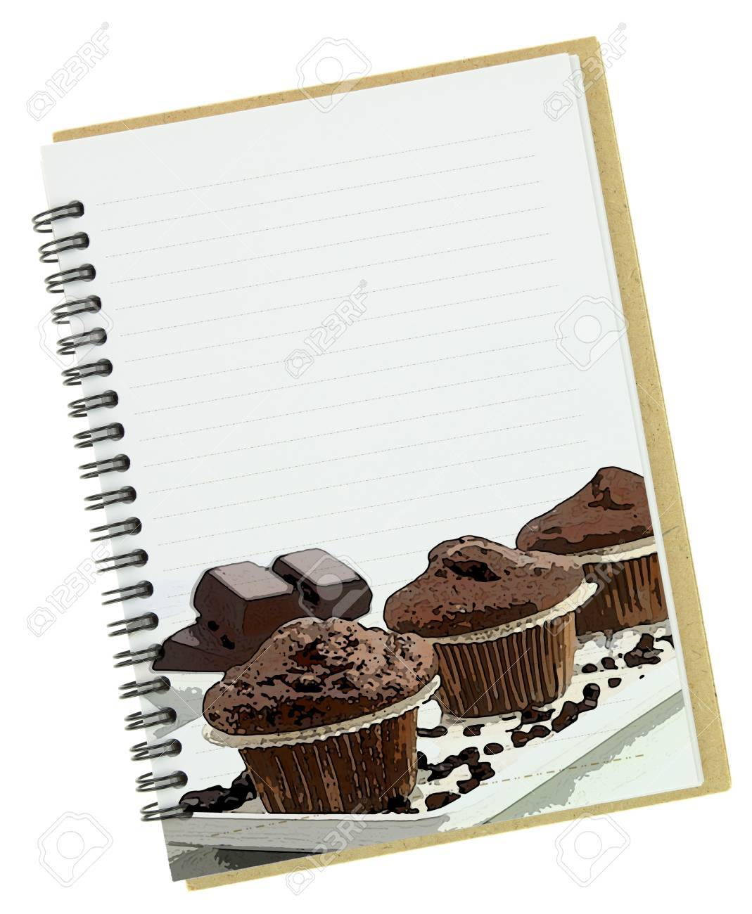 Recipe book, muffins painting on blank notebook page Stock Photo - 18422373