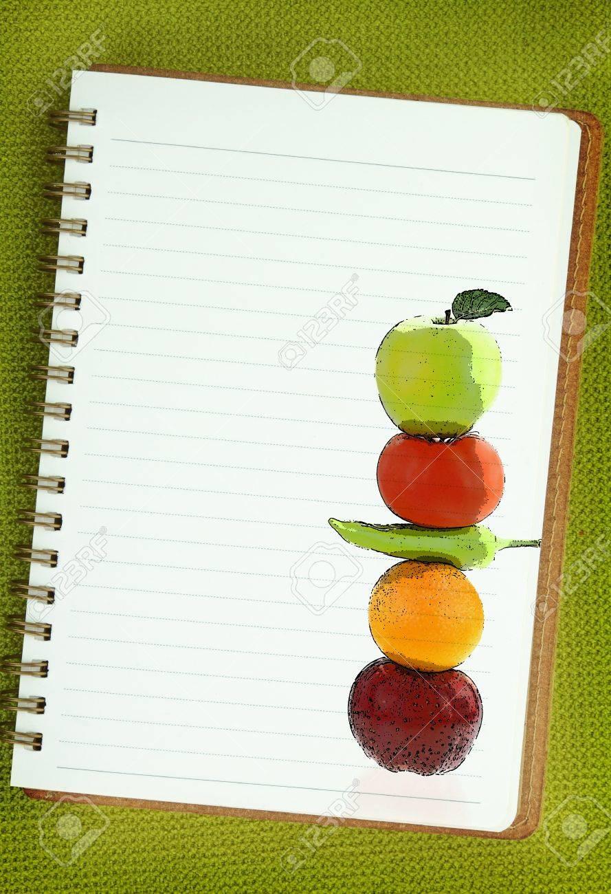 Obst Und Gemüse Malerei Auf Leeres Notizbuch Seite Lizenzfreie Fotos ...