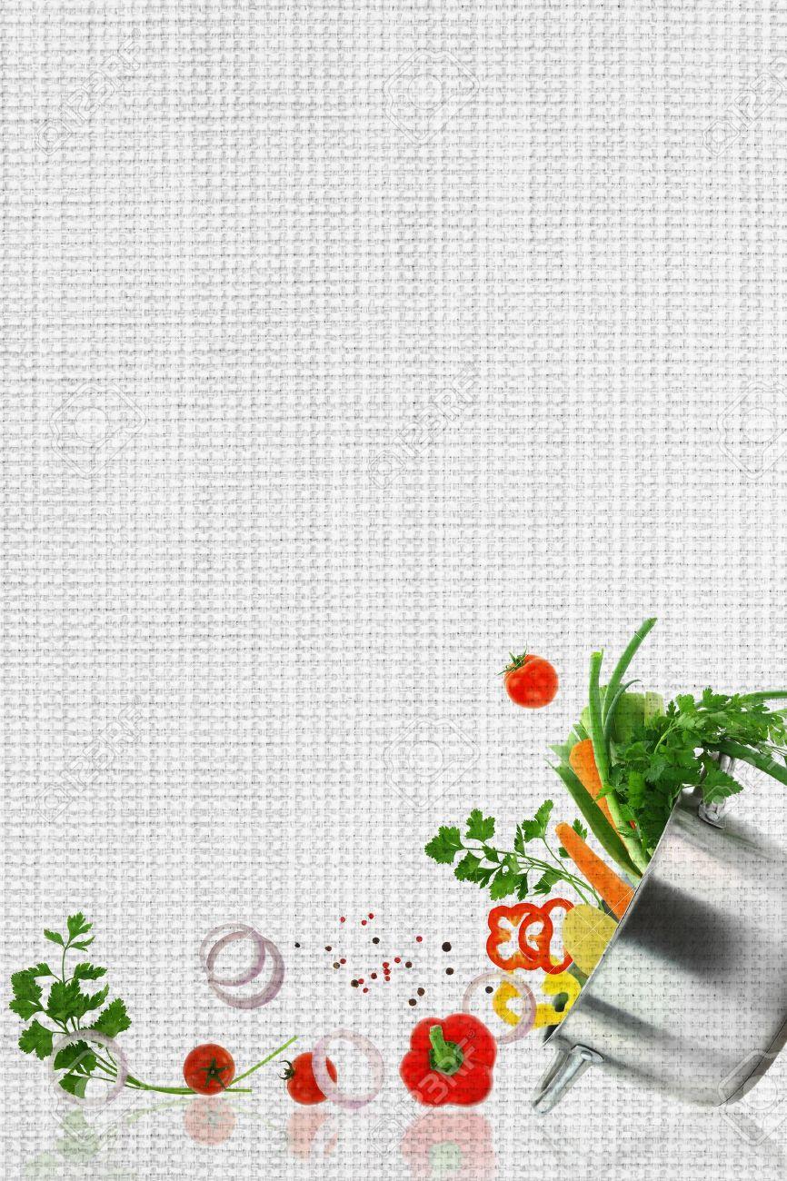 Rezept-Vorlage. Frisches Gemüse Auf Gewebestruktur Lizenzfreie Fotos ...