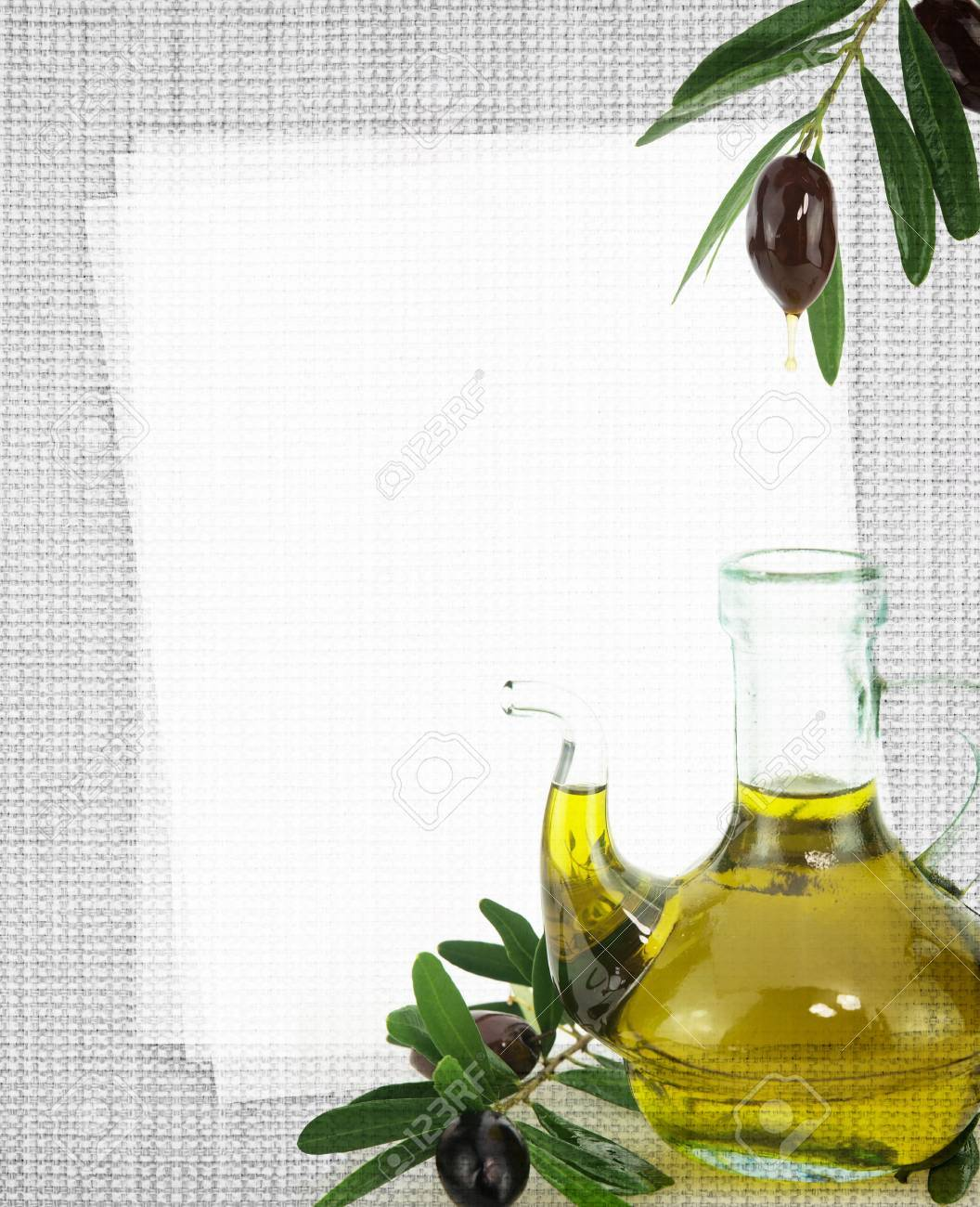 Recipe card. Bottle of olive oil on fabric texture Stock Photo - 18422318
