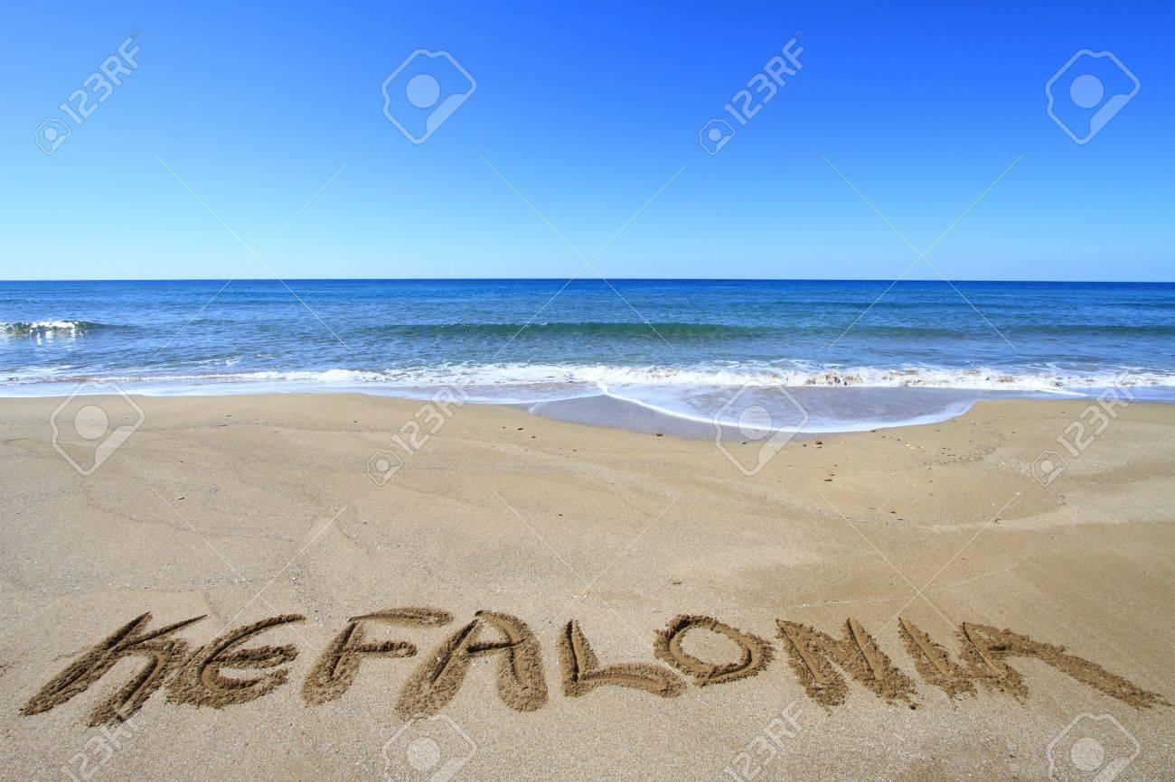 Kefalonia written on sandy beach Stock Photo - 18931598