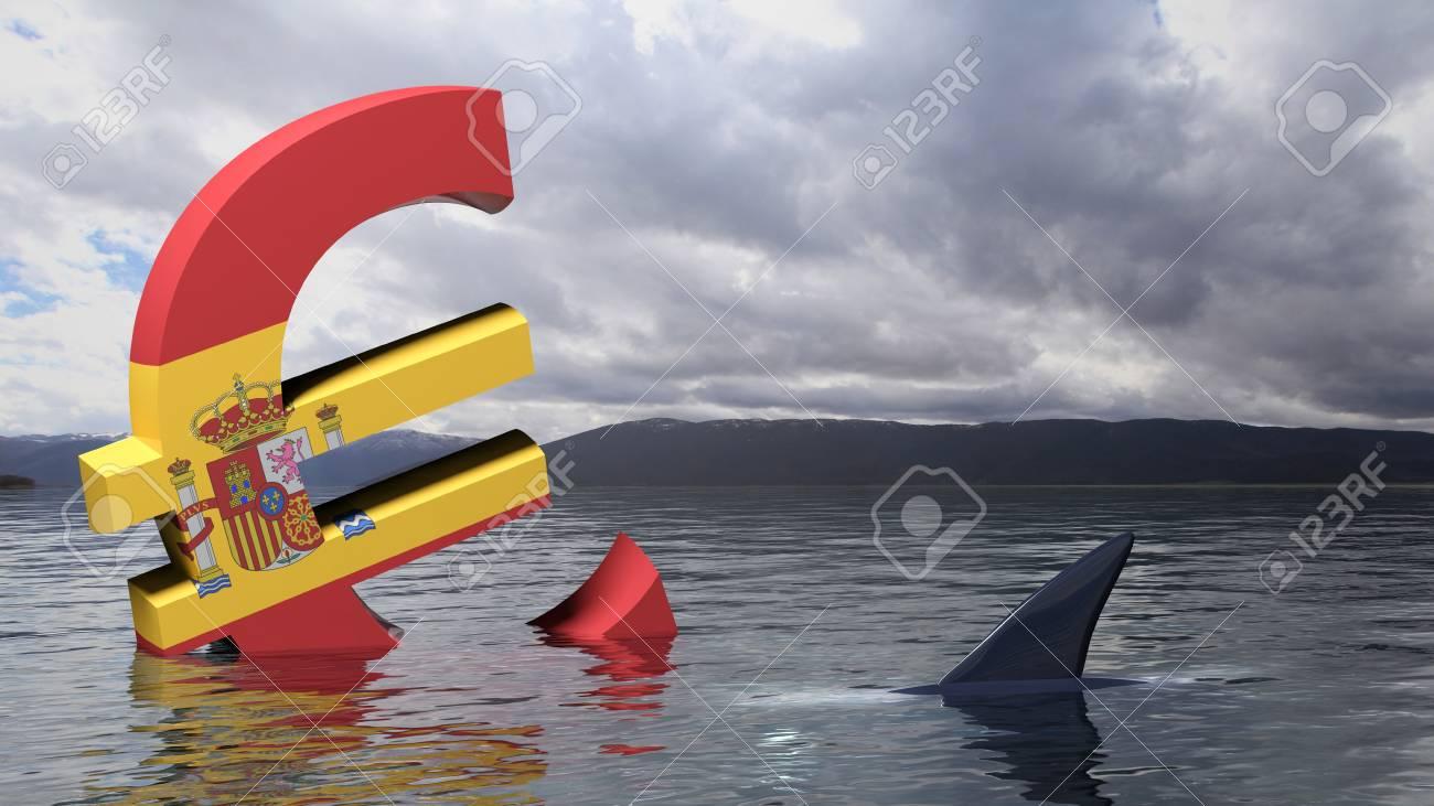 Símbolo Del Euro Con La Bandera De España Se Hunde En El Agua ...
