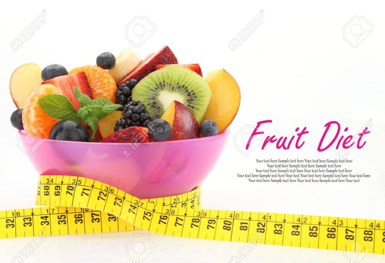 Diat Mahlzeit Obstsalat In Einer Schussel Mit Massband Lizenzfreie