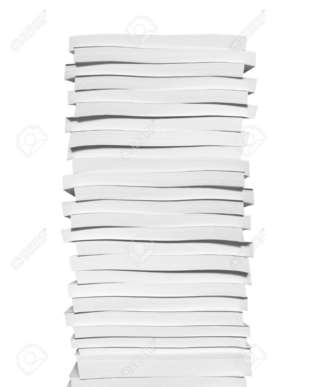 close up of stack of papers on white background stock photo, picture