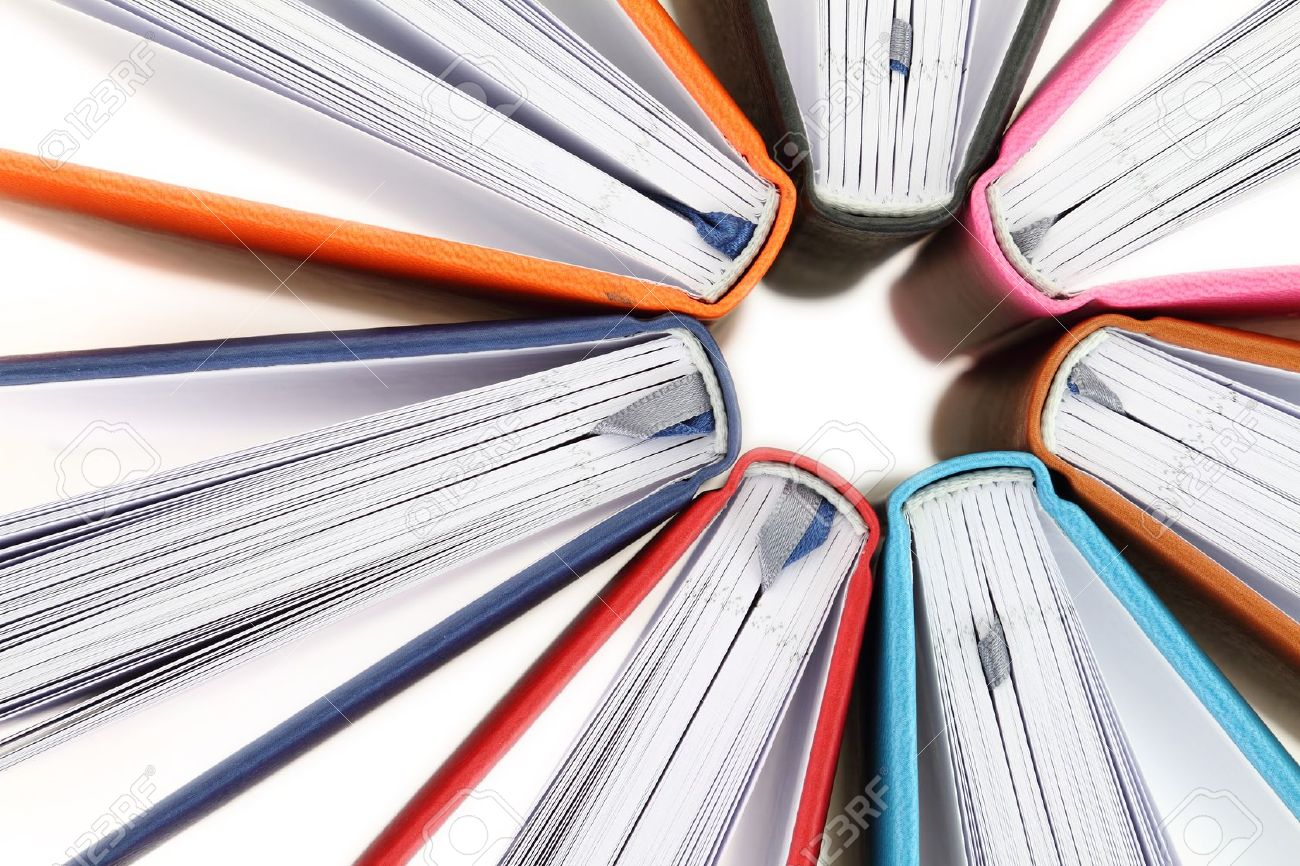 Top View Of Colorful Books In A Circle On White Background Stock ...