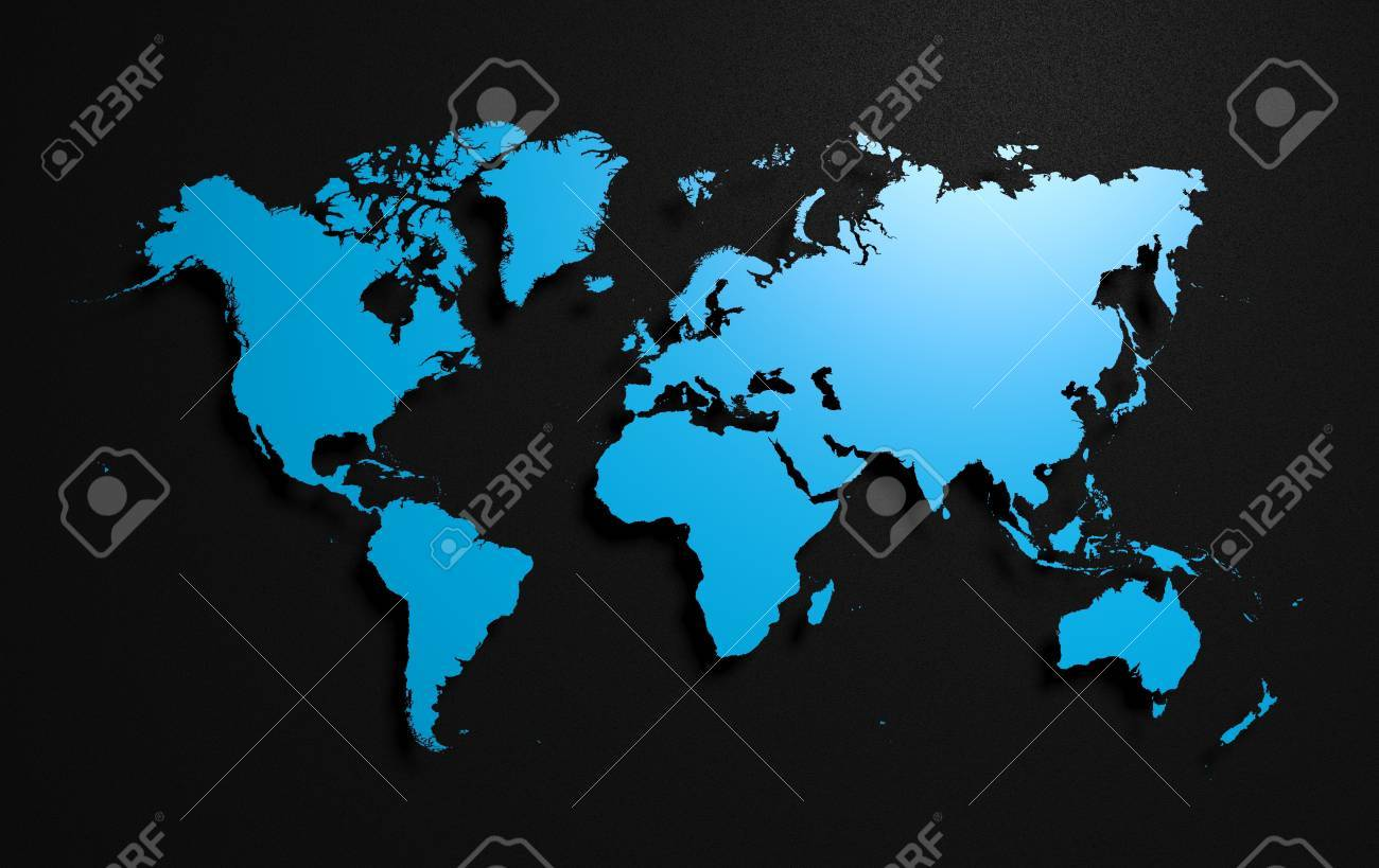 earth world map on black background stock photo 21589167