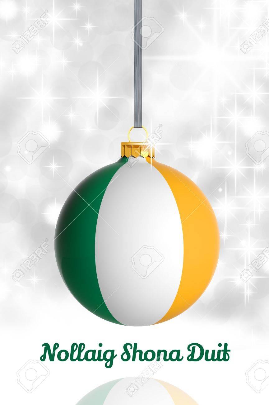 Merry Christmas From Ireland. Christmas Ball With Flag Stock Photo ...