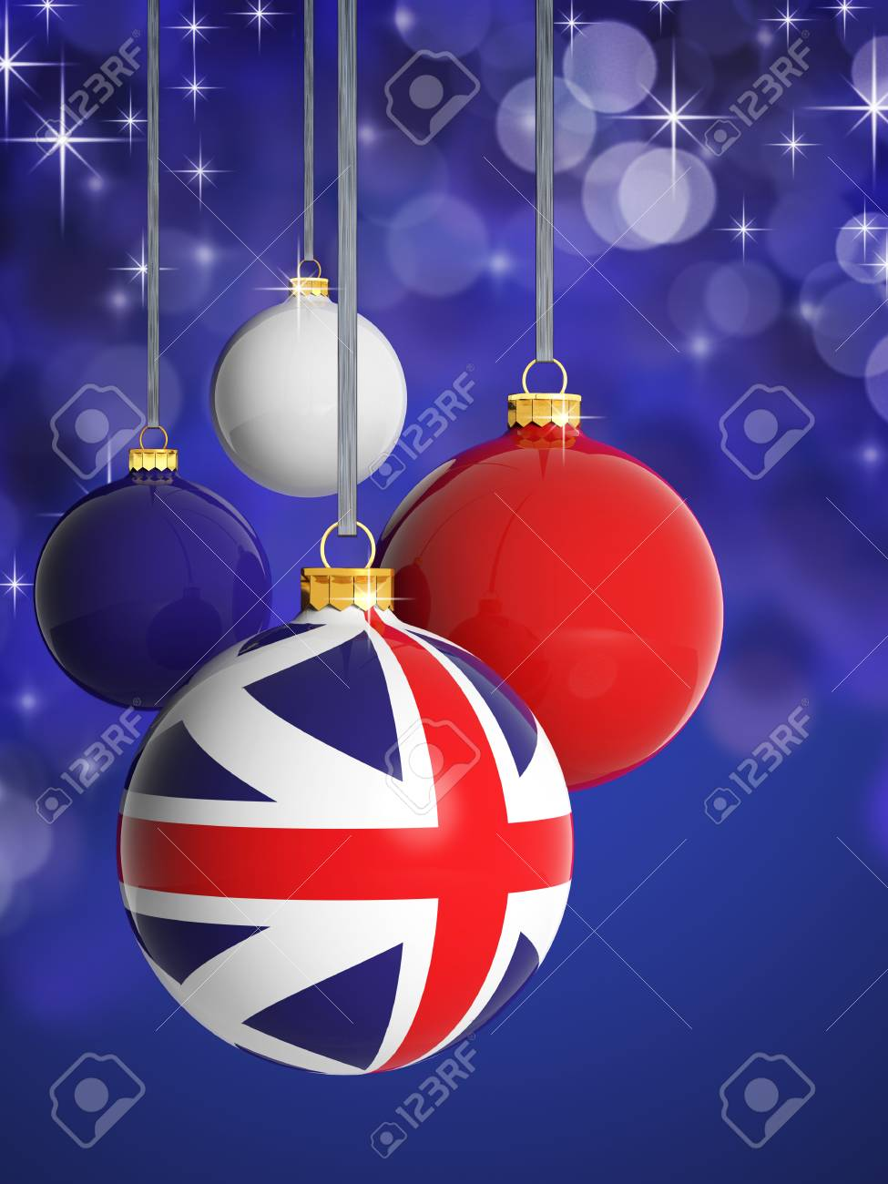 United Kingdom Christmas.Christmas Balls With United Kingdom Flag In Front Of Lights Background