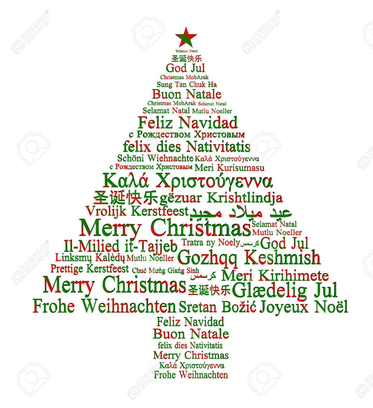 Merry Christmas In Different Languages Forming A Christmas Tree Stock  Photo, Picture And Royalty Free Image. Image 22291935.