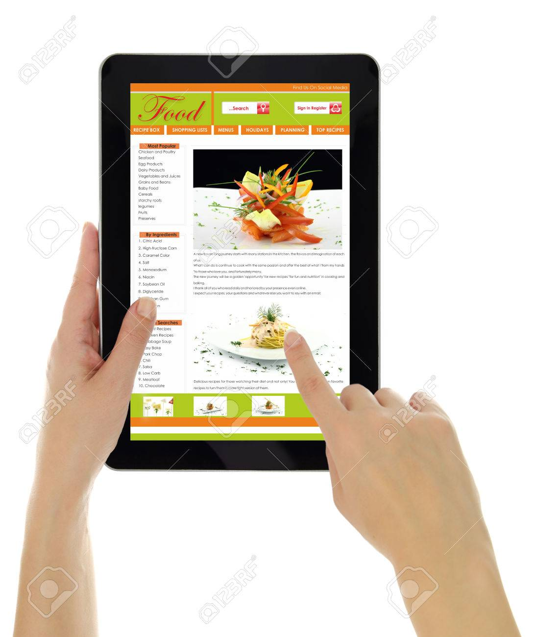 Hands Holding Tablet With Recipe Website Template Isolated Stock Photo