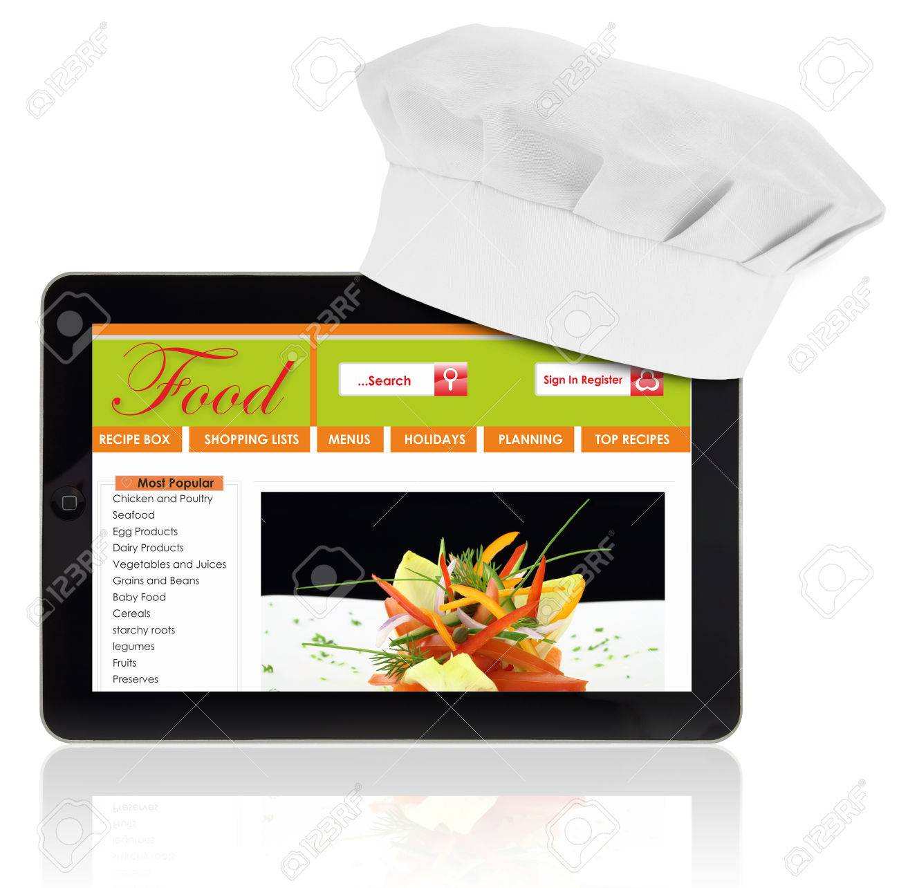 Tablet Computer With Chef And Recipe Website Template Isolated Stock
