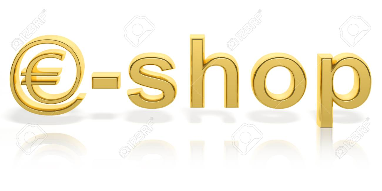 3d Gold E Shop Text With Web Money Symbol Isolated Stock Photo