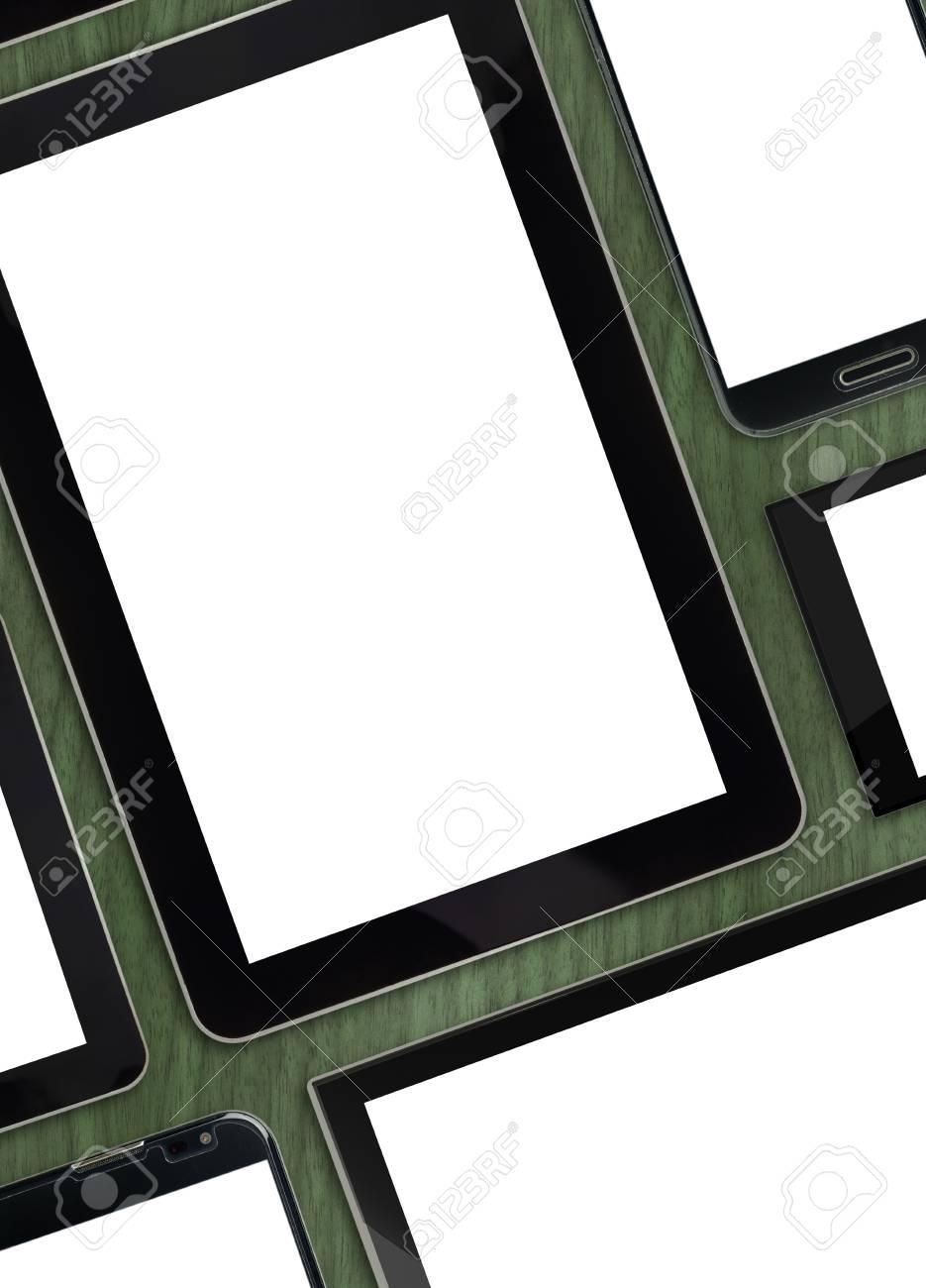 Set Leere Vorlagen Digitale Geräte Auf Holzplatte Lizenzfreie Fotos ...