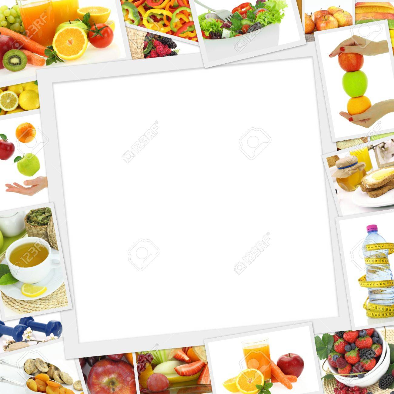 Collection of healthy food photos with copy space Stock Photo - 30045160