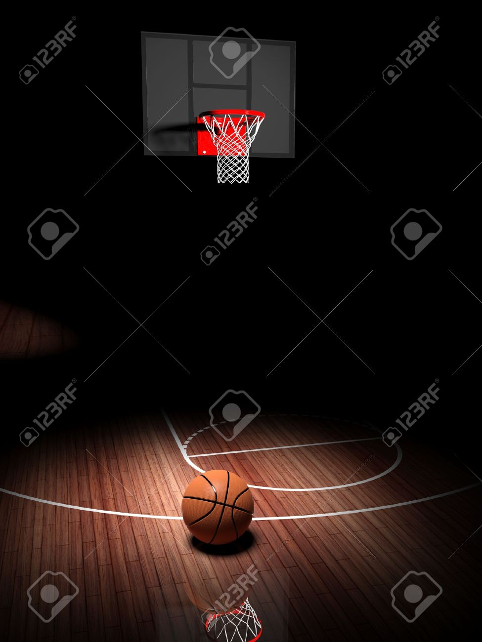 Basketball hoop with ball on wooden court floor Stock Photo - 30087527
