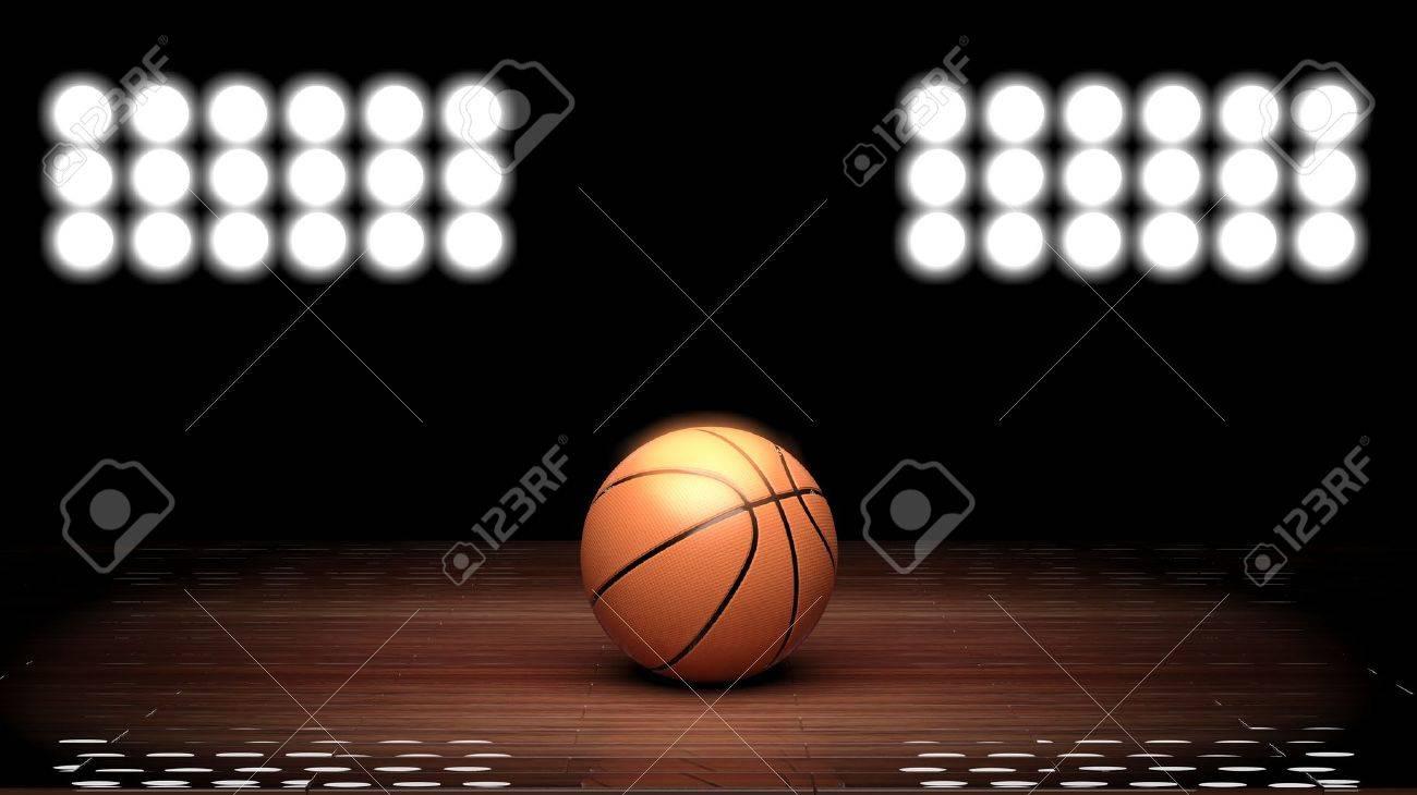 Basketball court floor with ball and back lighting on black Stock Photo - 30087532