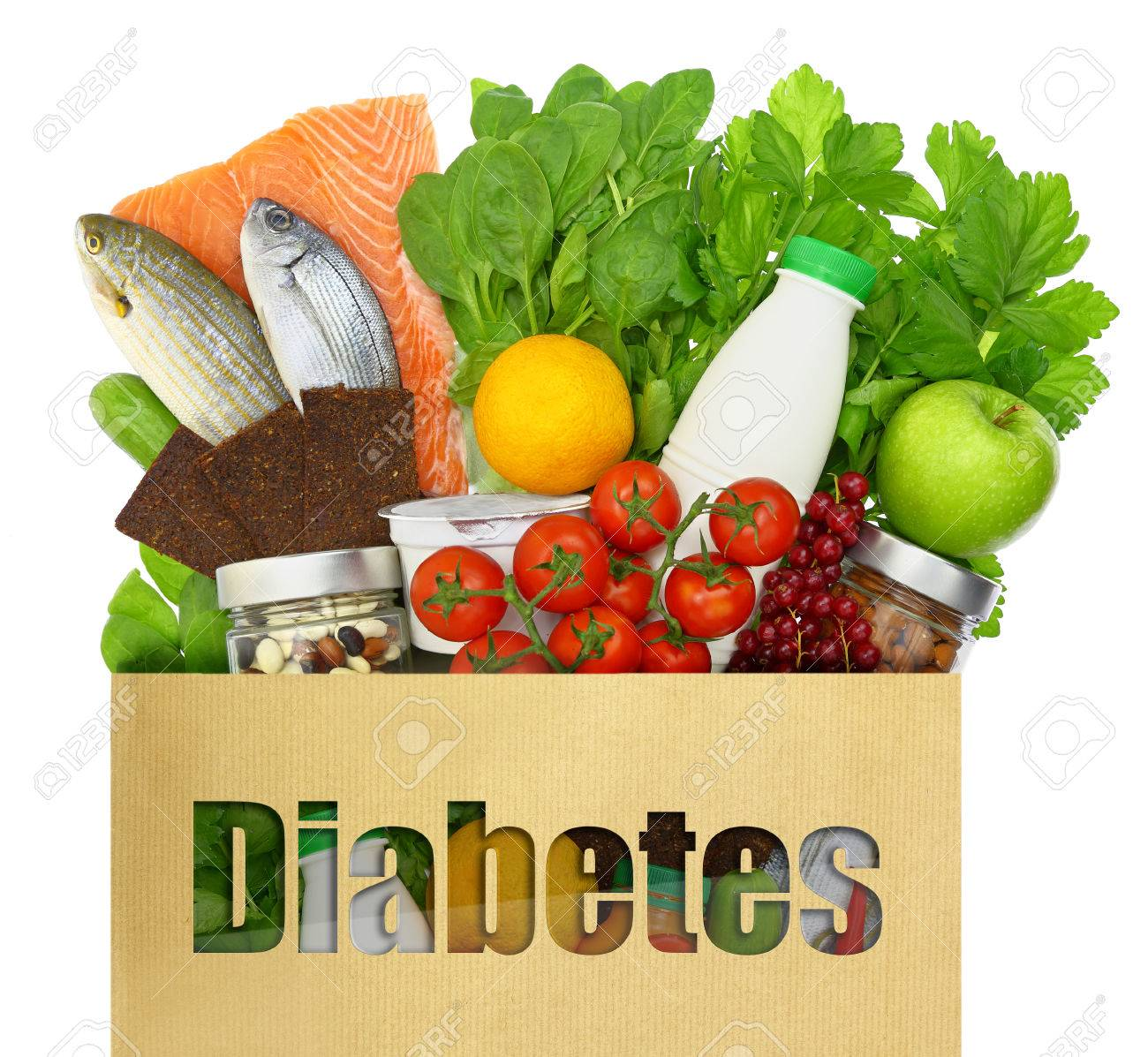paper on diabetes paper bag the word diabetes filled healthy foods stock stock photo essays and