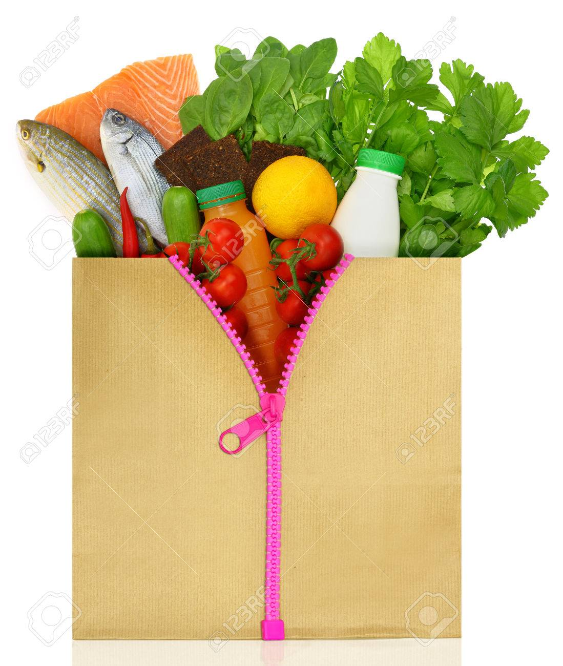 Unzipped shopping bag filled with groceries Stock Photo - 32264887