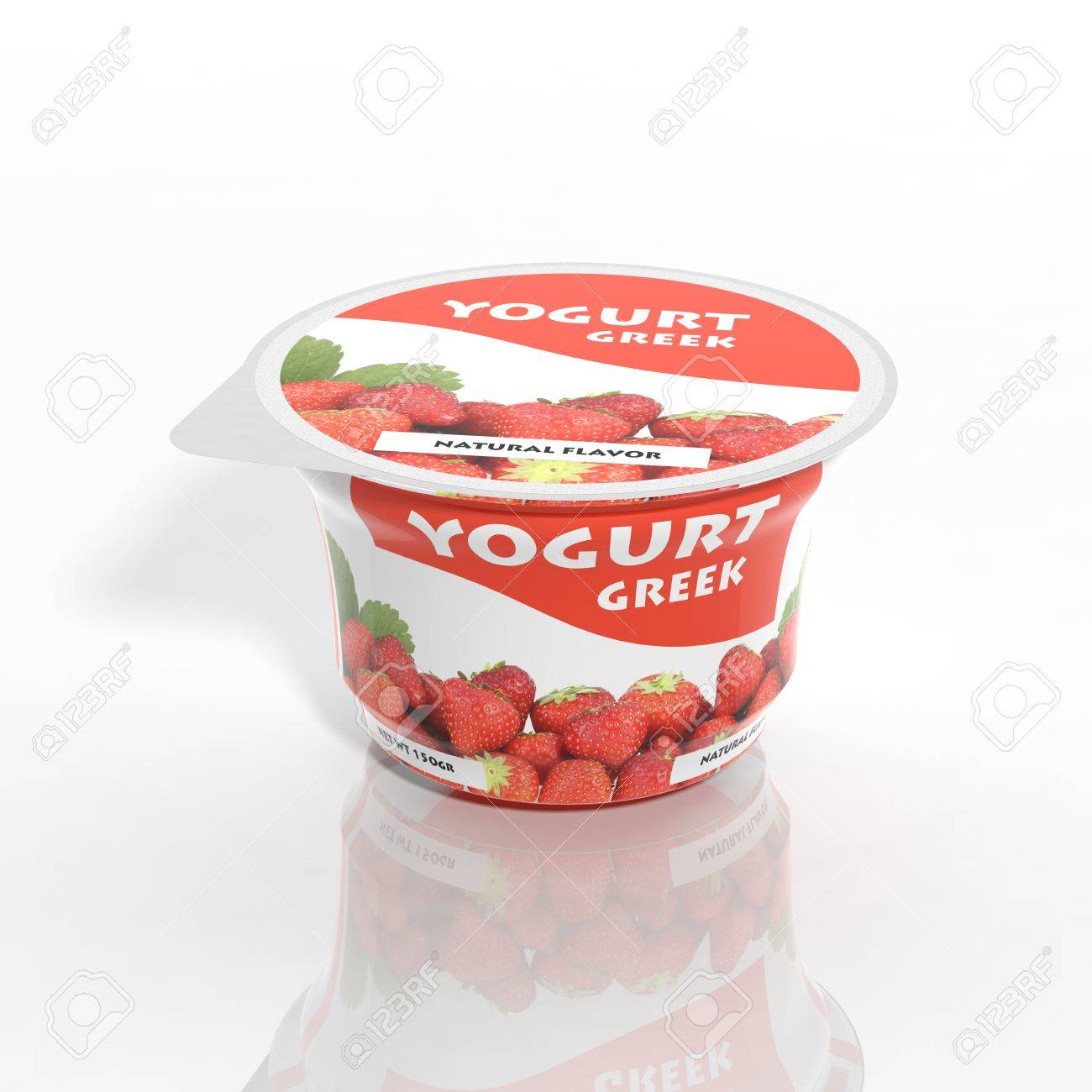 3D yogurt plastic container isolated on white Stock Photo - 32955561