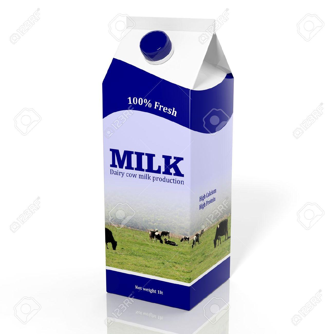 3D milk carton box isolated on white Stock Photo - 32955717