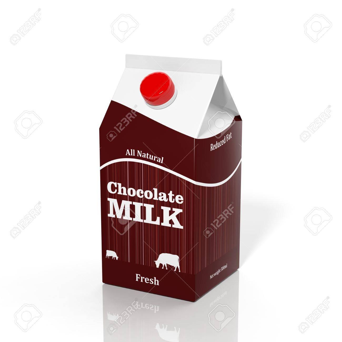 3D choco milk carton box isolated on white Stock Photo - 32955720