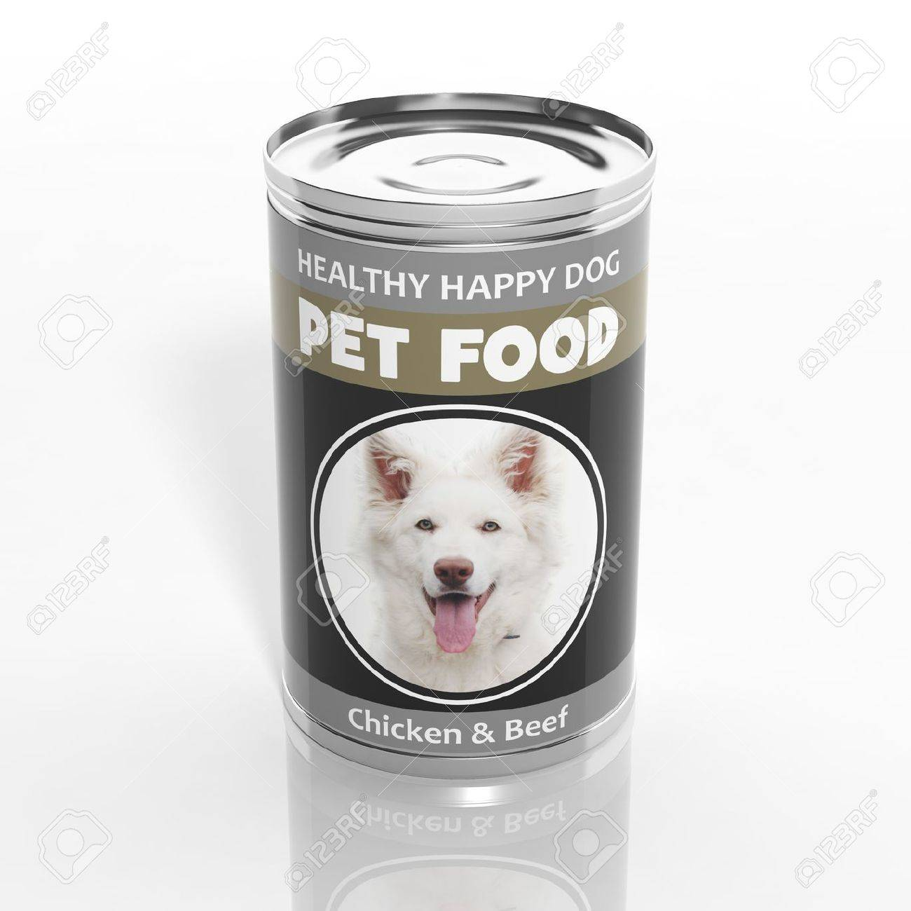 3D dog food metallic can isolated on white Stock Photo - 32955734