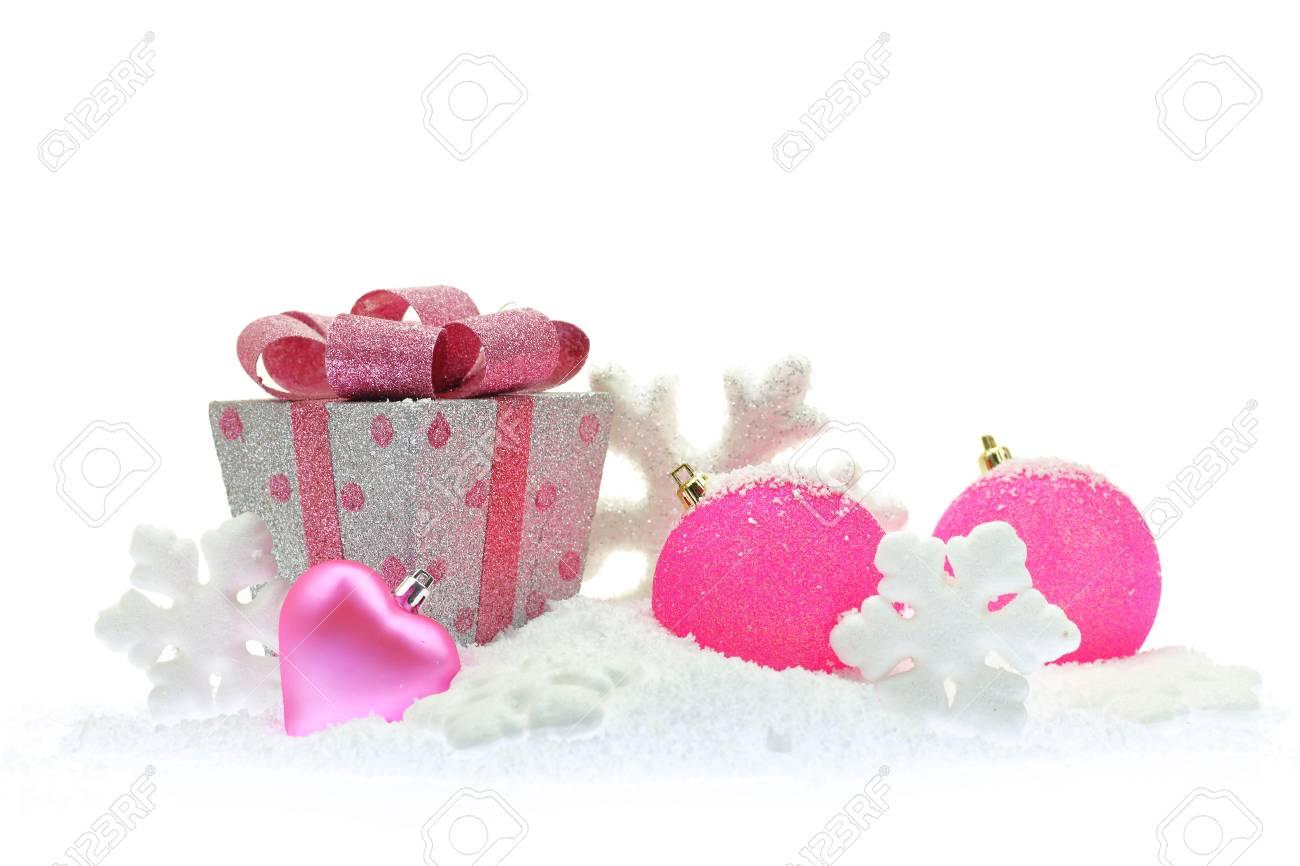 Coffret Cadeau Et Décorations De Noël Rose Sur La Neige Banque D