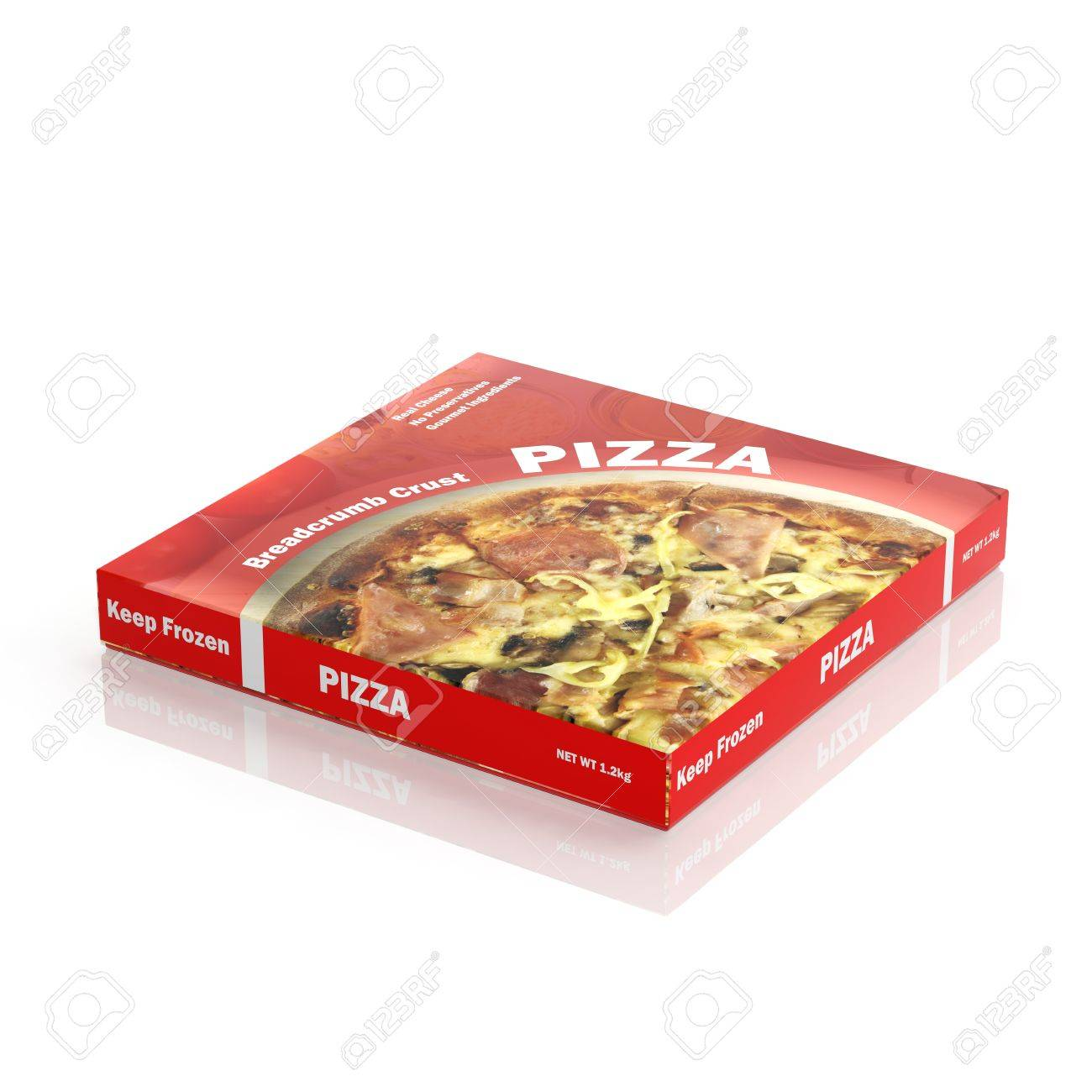 3D Pizza paper package isolated on white Stock Photo - 33504746
