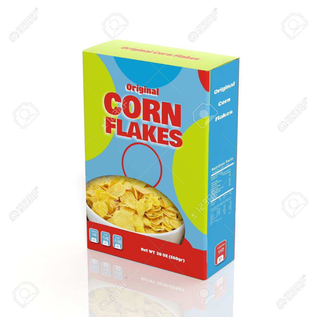 3D Corn Flakes paper package isolated on white Stock Photo - 33758439