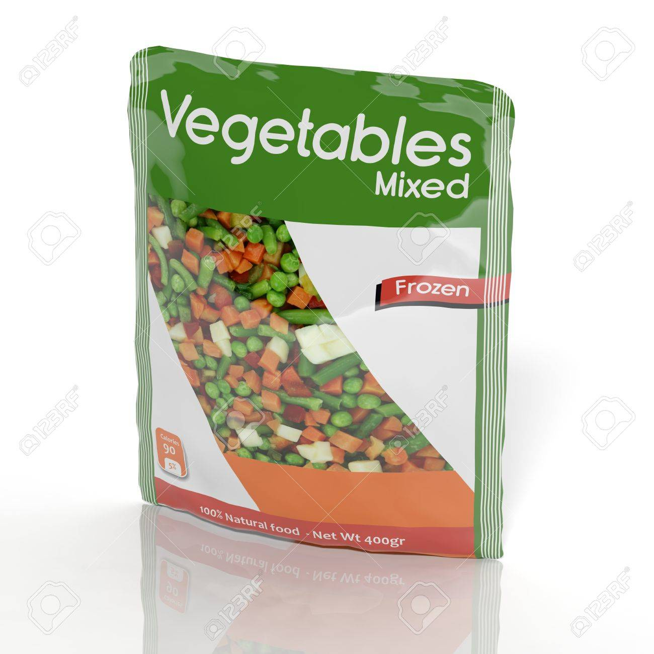 3D Frozen Vegetables packet isolated on white Stock Photo - 33758459
