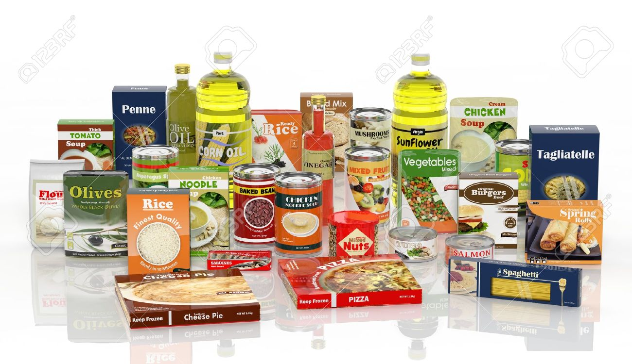 3D collection of packaged food isolated on white background Stock Photo - 34655511