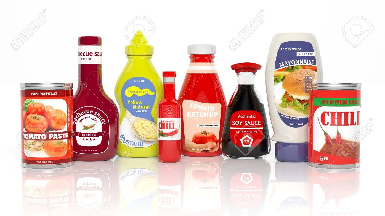 Various 3D table sauce products isolated on white Stock Photo - 35234734