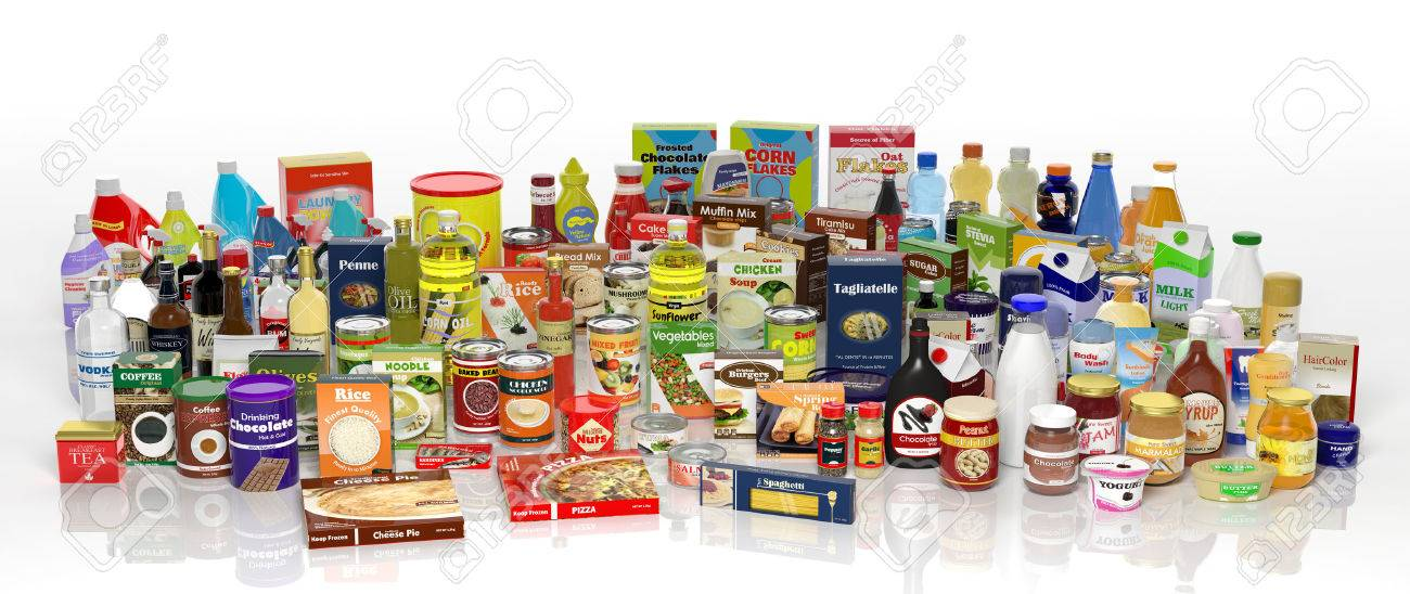 Various 3D grocery products isolated on white Stock Photo - 35234804