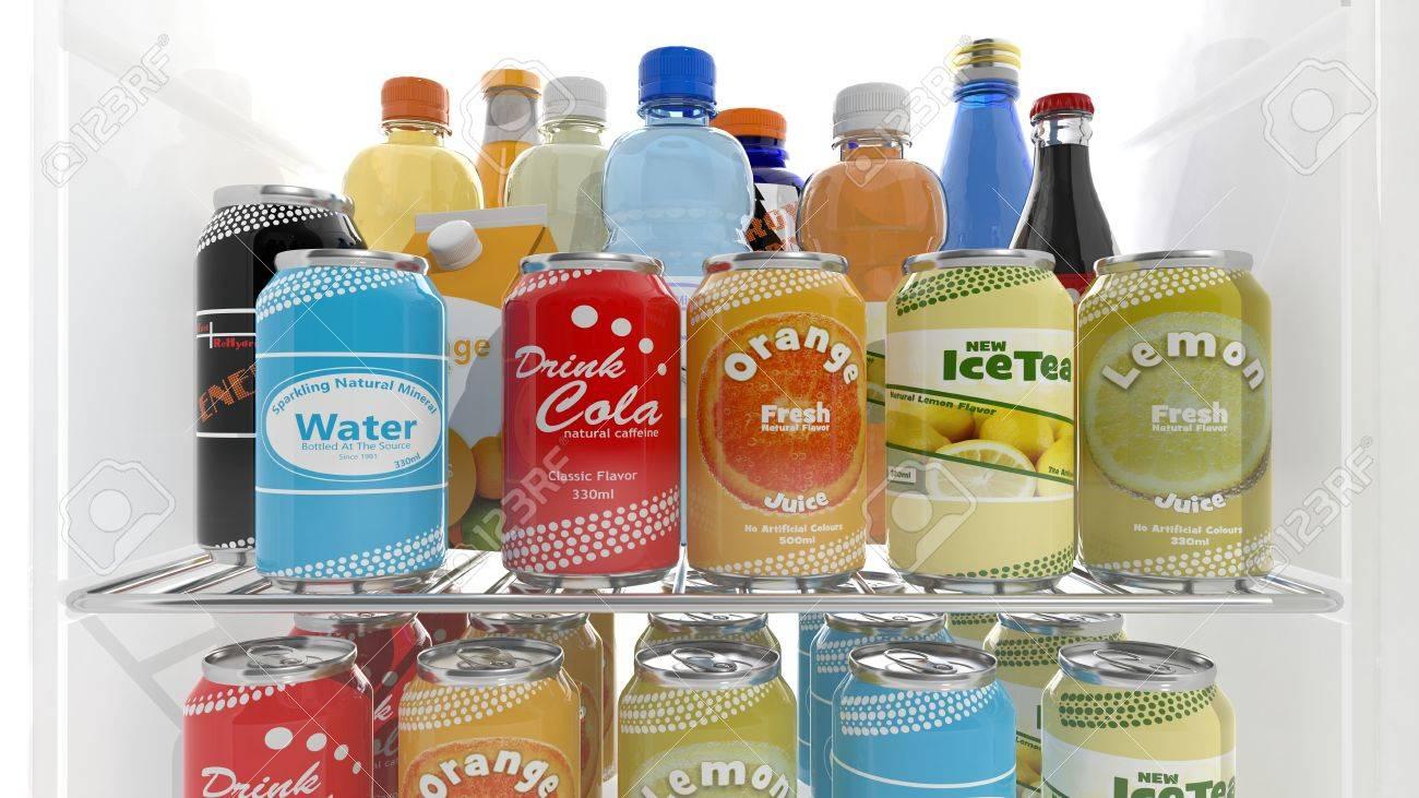 Kühlschrank Regal : Verschiedene d getränke produkte auf kühlschrank regal