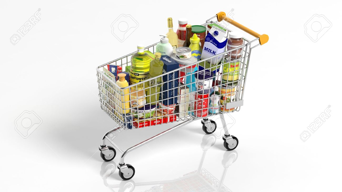 Full with products supermarket shopping cart isolated on white background Stock Photo - 35394904