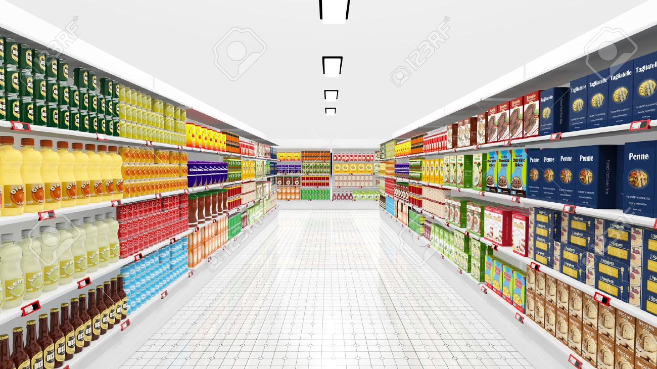 supermarket interior with shelves and various products stock photo