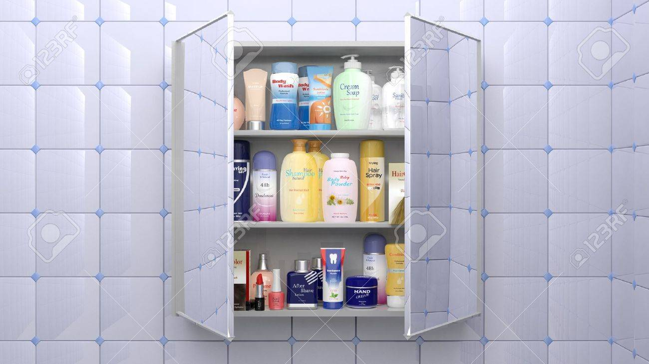 Charmant Stock Photo   Various Cosmetics And Personal Care Products In Bathroom  Cabinet