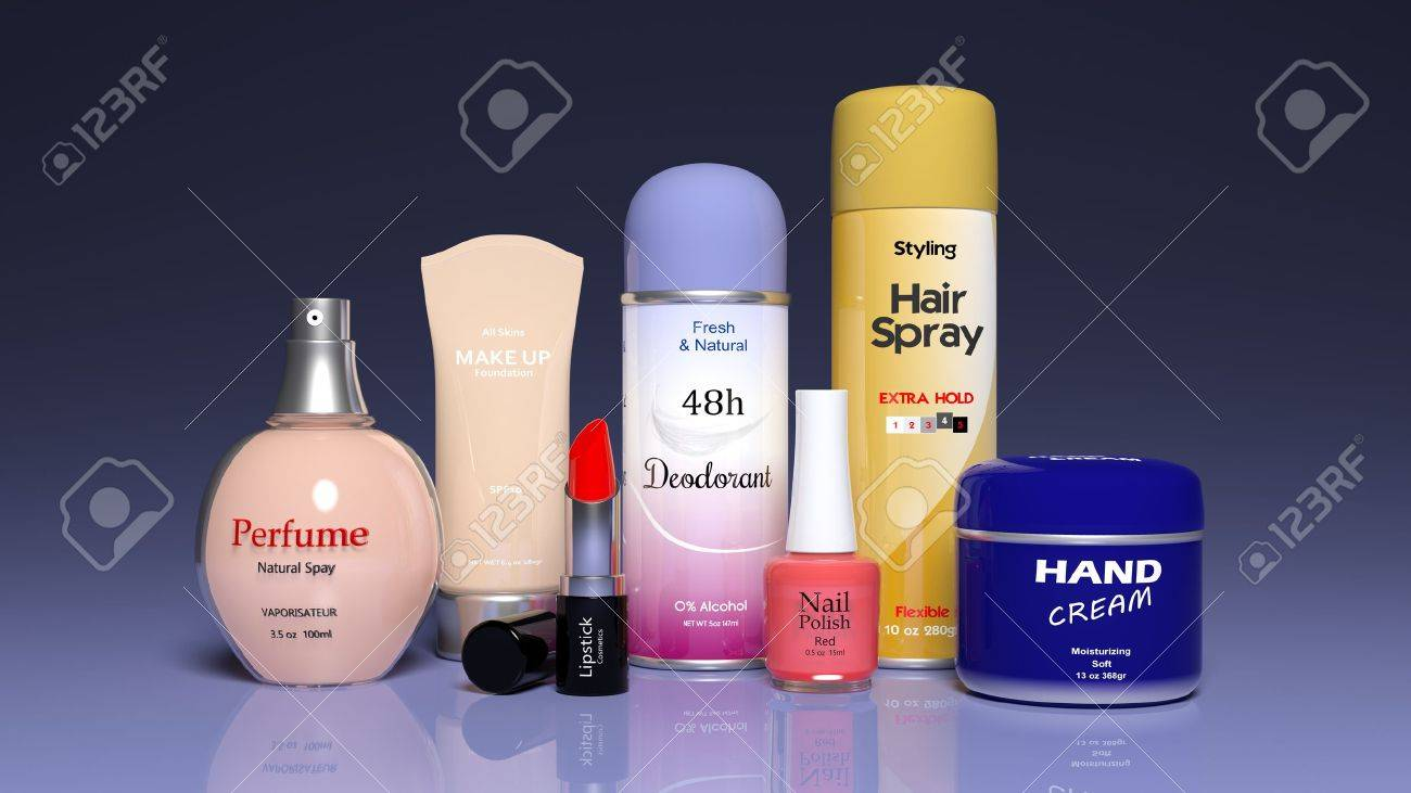 3D collection of beauty products Stock Photo - 35758219