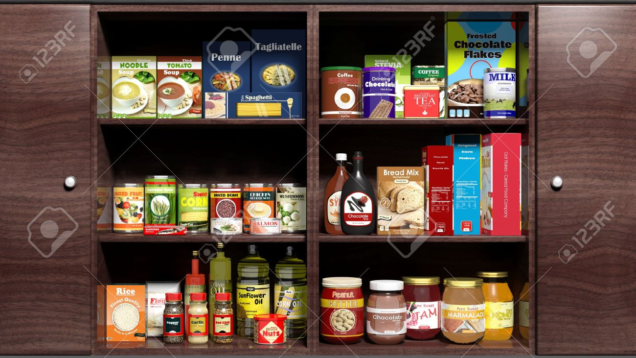 Wooden kitchen cabinet full of food products Stock Photo - 35916392