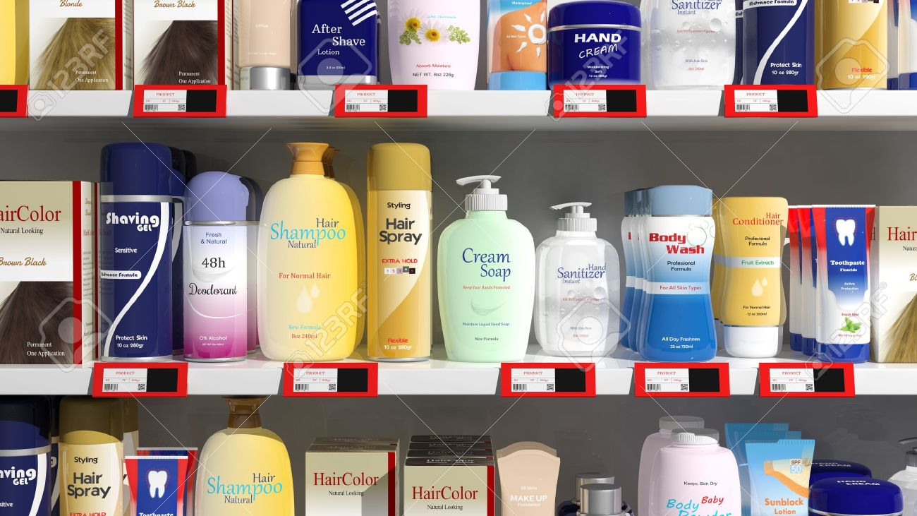Supermarket shelves with personal care products Stock Photo - 35916419
