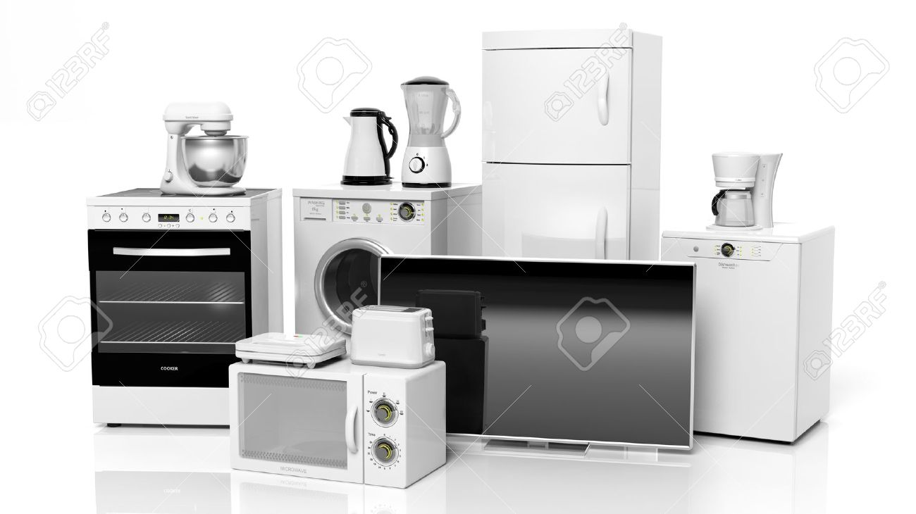 Group of home appliances isolated on white background Stock Photo - 36954148