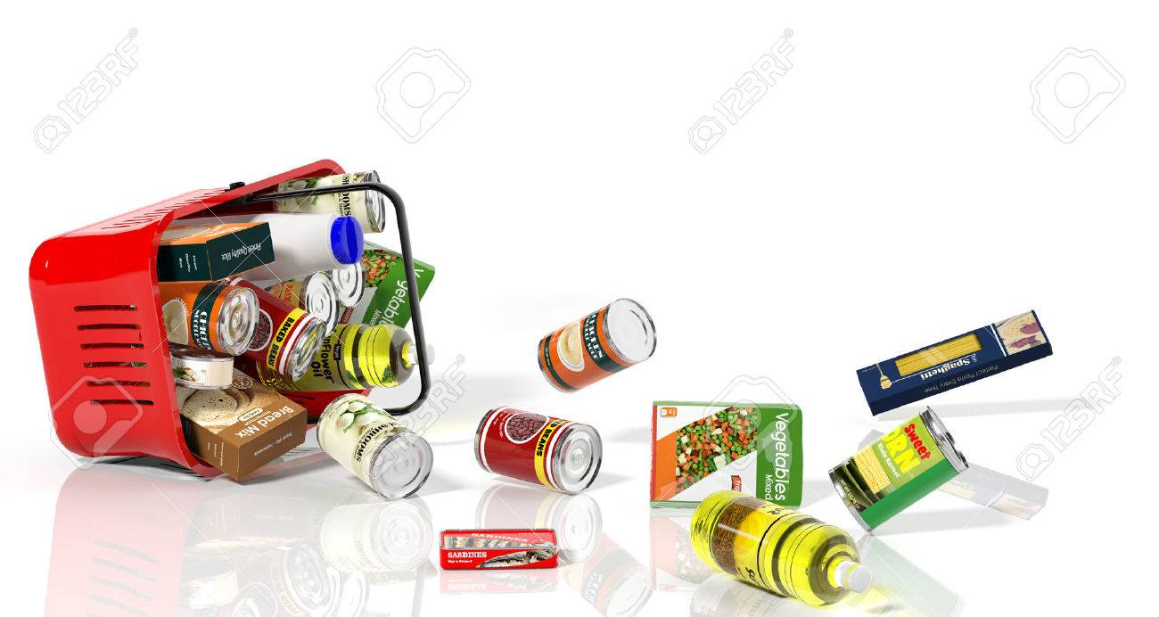Full shopping basket with products falling out isolated on white - 52312650